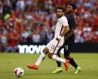 Roma forward Mohamed Salah and Liverpool forward Daniel Sturridge, right, race for a loose ball during a friendly soccer match Monday, Aug. 1, 2016, in St. Louis. Roma won the match 2-1. (AP Photo/Billy Hurst)